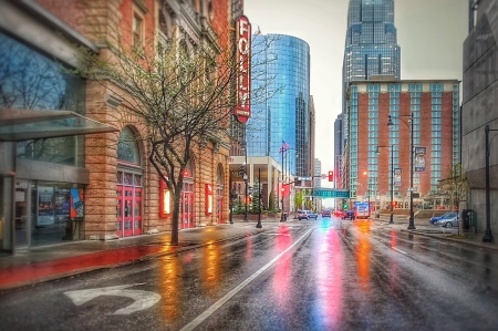 Downtown in the morning rain